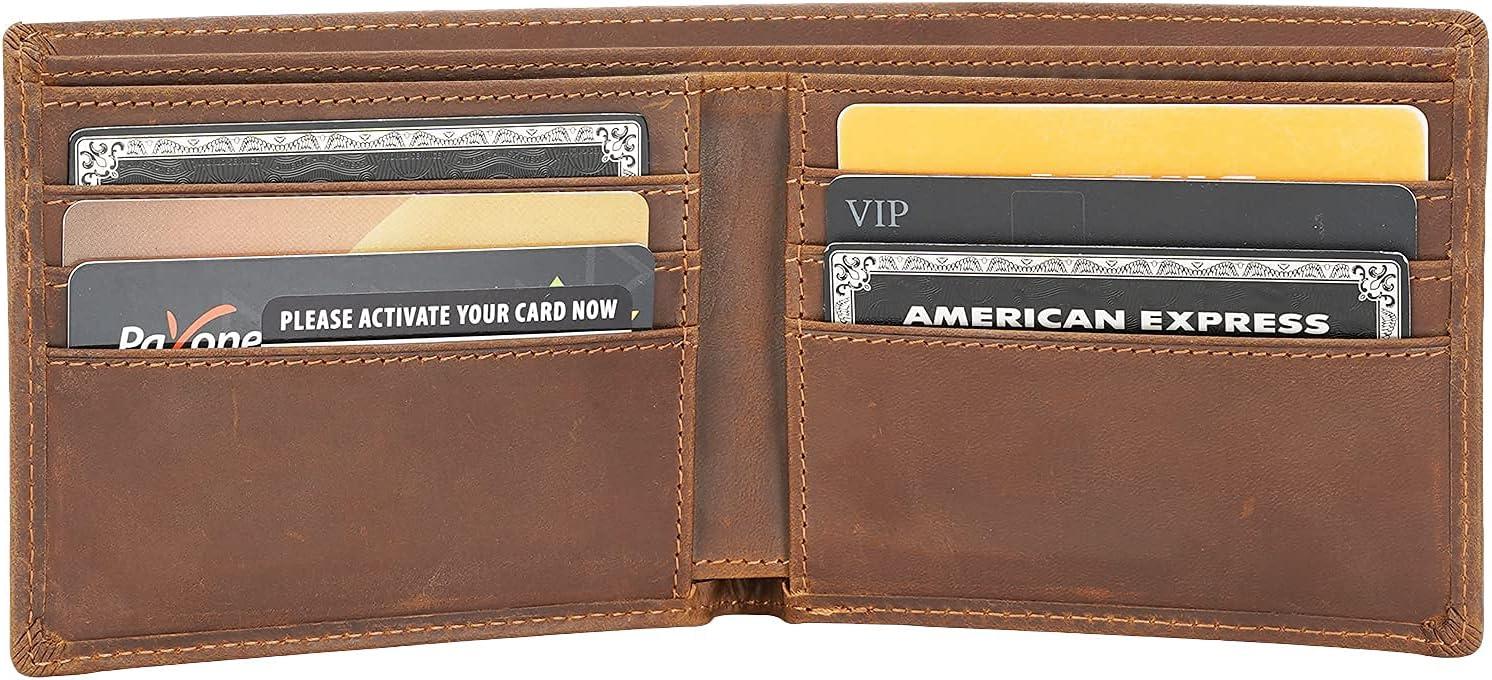 Polare Original Men's RFID Blocking Vintage Italian Genuine Leather Slim Bifold Wallet