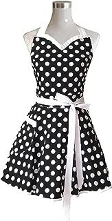 Hyzrz Lovely Sweetheart Black Retro Kitchen Aprons Woman Girl Cotton Polka Dot Cooking Salon Pinafore Vintage Apron Dress Gift