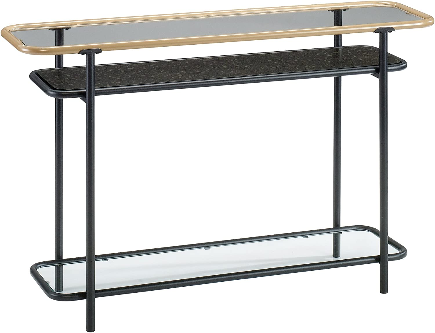 Sauder Boulevard Cafe Glass Top Console Table in Black and Copper