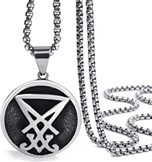Elfasio Men Pendant Necklace Stainless Steel Sigil of Lucifer Seal of Satan Chain Jewelry