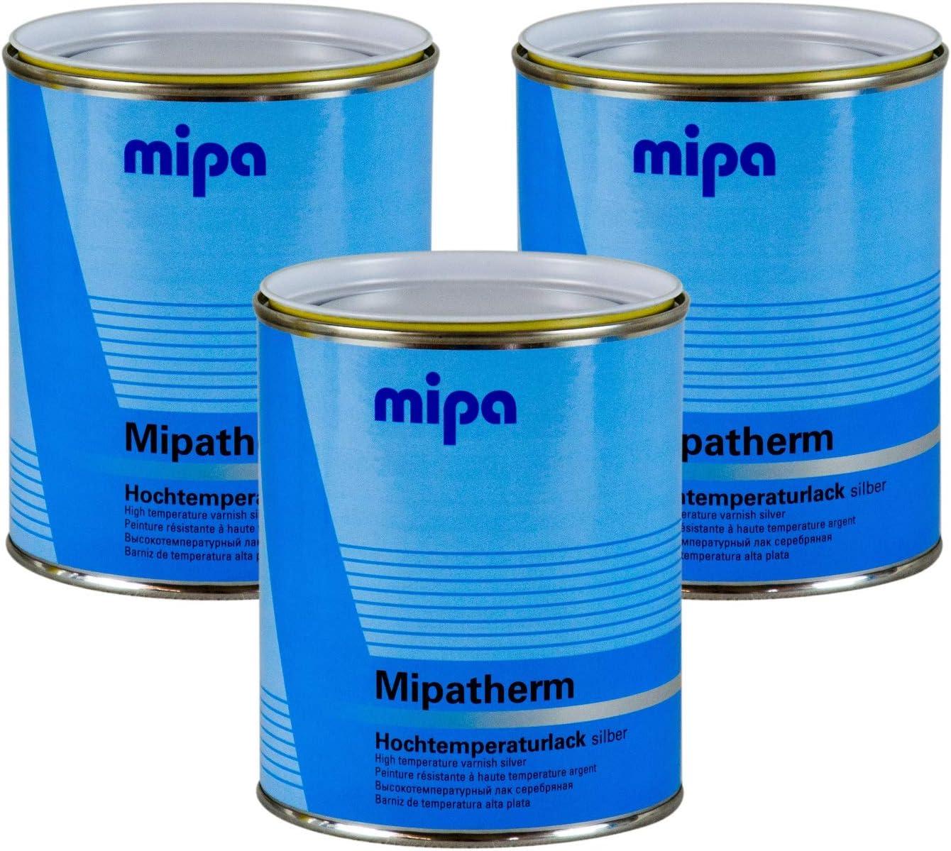 Mipa 3x Mipatherm Silber Thermolack Ofenlack Hitzebeständig Bis 800 C 750 Ml Auto