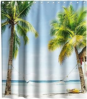 Lifeasy Coconut Palm Tree Hammock Beach Shower Curtain Summer Holiday Theme Fabric Ocean Bathroom Decor Sets with Hooks Waterproof Washable 70 x 70 inches