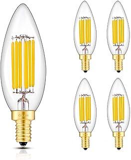 CRLight 6W 3000K LED Candelabra Bulb Soft White 700LM Dimmable, 70W Equivalent E12 Base LED
