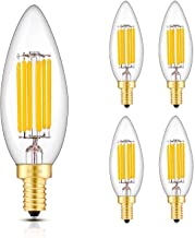 CRLight Dimmable LED Candelabra Bulb 70W Equivalent 700LM, 6 LED Filaments Real 6W LED Chandelier Light Bulbs, 3000K Soft White, E12 Base, B10 Candle Clear Glass Decorative Bulb, Pack of 4