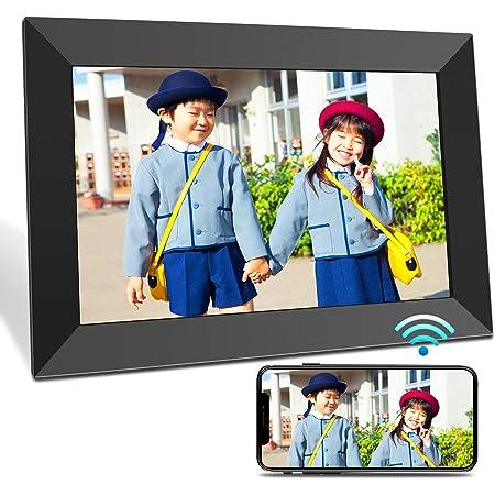 BIGASUO デジタルフォトフレーム 10.1インチ 1280*800高解像度 Wi-Fi転送 16GB内蔵メモリー 自動回転 写真/動画/音楽/スライドショー再生 時計/カレンダー/アラーム機能 最大32GB記憶媒体対応 結婚/出産祝い 1年保証