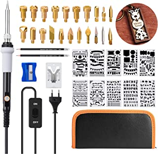 Wood Burning Kit, GOCHANGE 39Pcs Pyrography Set with Adjustable Temperature Soldering Woodburning Pen with Power Switch, 20 Wood Burning Tips + 10 Stencil + 2 Pencils+ Stand + 1 Carrying Case