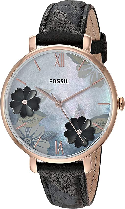 ES4535 Rose Gold Black Floral Leather