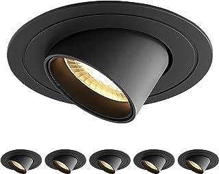 SAINUO 6PCS LED spot encastré 5W 3000K Rotatif Spot led encastrable CRI 90+ Pas de scintillement Spot intérieur LED plafo...