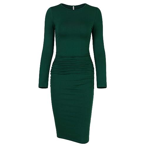 2a47c523ca5f7 Missufe Women's Ruched Casual Sundress Midi Bodycon Sheath Dress