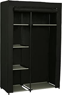 JEROAL Closet Wardrobe Portable Clothes Storage Organizer with Metal Shelves and Dustproof Non-Woven Fabric Cover,41.73x17.72x65.35 in(WxDxH) (Black)