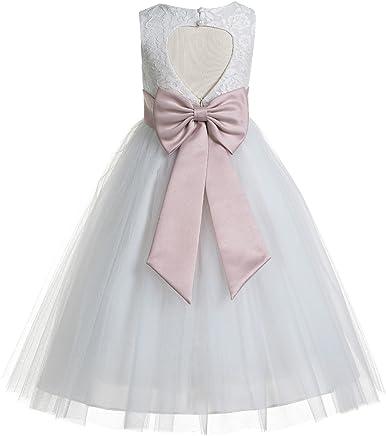 783ead88bcbb ekidsbridal Floral Lace Heart Cutout White Flower Girl Dresses First  Communion Dress Baptism Dresses 172T