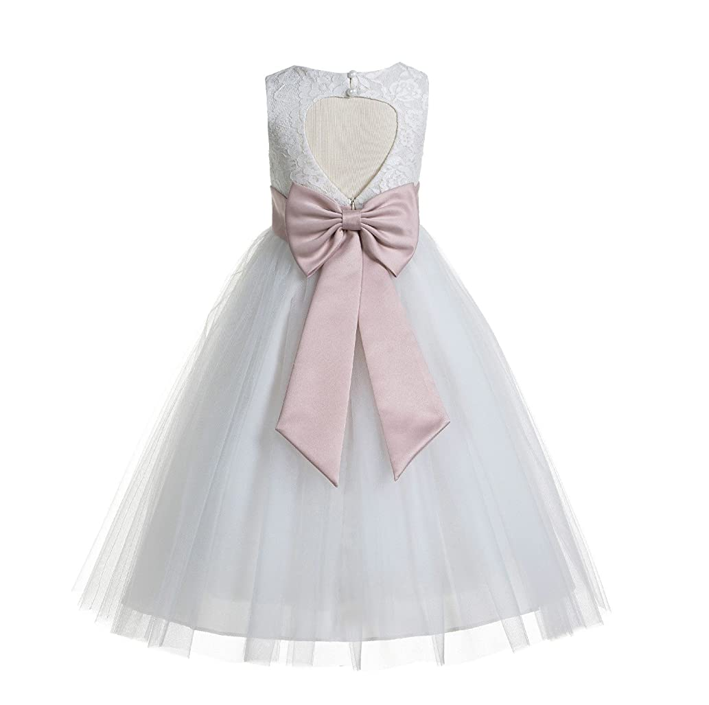 Ivory Floral Lace Heart Cutout Flower Girl Dress Toddler Girl Dresses 172T