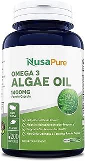 Omega 3 - Algae Oil 1400mg 200 Powder Capsules (Non-GMO & Gluten Free), Algae DHA EPA Supplement. Supports Heart, Brain, Joint, Prenatal & Immune System