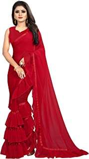 Market Magic World Women's Georgette Ruffle Frill Saree With Blouse Piece