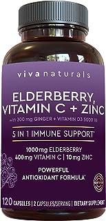 Viva Naturals Elderberry, Vitamin C, Zinc, Vitamin D 5000 IU & Ginger Immune Support Supplement,...