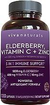 Viva Naturals Elderberry, Vitamin C, Zinc, Vitamin D 5000 IU & Ginger Immune Support Supplement, 2 Month Supply (120 Capsu...
