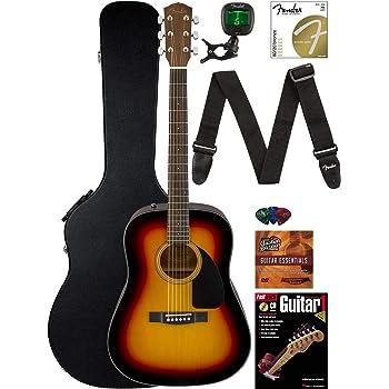 Fender CD-60 Dreadnought Acoustic Guitar - Sunburst Bundle with Hard Case, Strap, Tuner, Strings, Picks, Instructional Book, and Austin Bazaar Instructional DVD