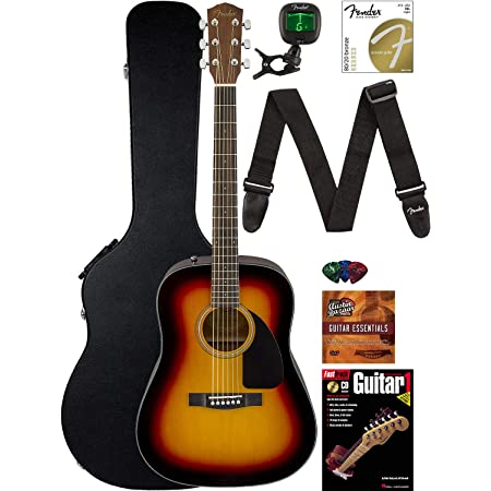 Amazon Com Fender Fa 125 Dreadnought Acoustic Guitar Natural Bundle With Hard Case Tuner Strap Strings Picks And Austin Bazaar Instructional Dvd Musical Instruments