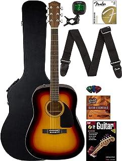 Fender CD-60 Dreadnought Acoustic Guitar - Sunburst Bundle with Hard Case, Strap, Tuner, Strings, Picks, Instructional Boo...