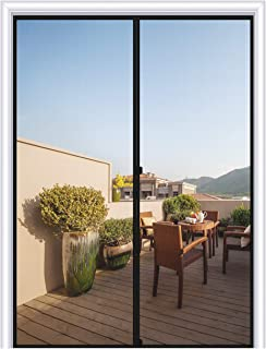 MAGZO Magnetic Screen Door 48 x 80, Reinforced Fiberglass Mesh Curtain Double Door Mesh with Full Frame Hook&Loop Fits Door Size up to 48