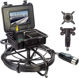 HBHYQ Endoscopio de tubería de 7 Pulgadas, cámara de tubería, Detector de inspección Interno de tubería de Doble Lente, in...