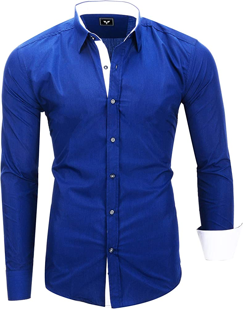 Kayhan originale camicia a maniche lunghe da uomo 97% cotone 3% elastan A-TwoFace-0000115a4