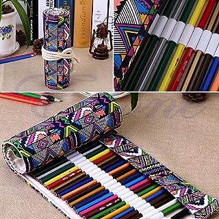 حقيبة أقلام قماشية قابلة للف لـ 36 فرشاة أقلام رصاص ملونة
