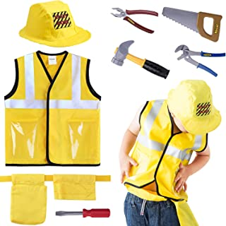 iPlay, iLearn Construction Worker Costume Role Play Kit Set, Engineering Dress Up Gift..