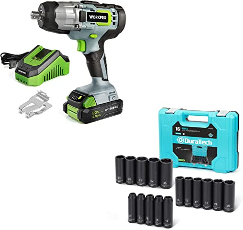 """discount WORKPRO 20V Cordless high quality Impact Wrench with DURATECH 16-Piece 1/2"""" Impact Socket high quality Set online sale"""