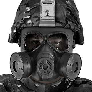BIENNA Airsoft Tactical Paintball Protective Full Face Eye Protection Skull Dummy Toxic Gas Mask with 2 Filter Fans and Adjustable Strap for BB Gun CS Cosplay Costume Halloween Masquerade