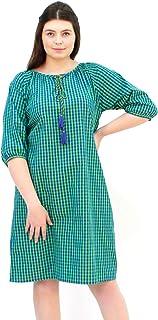 Lastinch Women's Plus Size Cotton Blue-Green Checks Dress