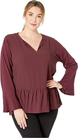 Plus Size Combo Fabric Ruffle Top