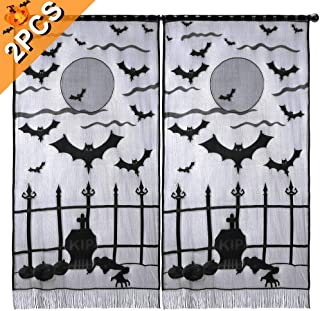 Aytai 2Pcs Black Lace Halloween Curtains for Windows, Vividly Bats Window Curtains Halloween Party Decor, Halloween Party Supplies 40 x 84 Inch