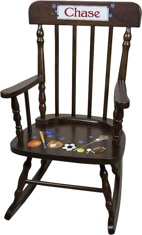 Personalized Espresso Sports Rocking Chair