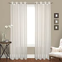 United Curtain Venetian Crushed Voile Window Curtain Panel, 100 by 84-Inch, Natural, Set of 2