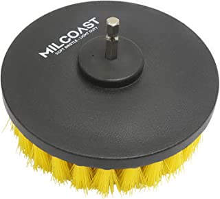 Milcoast 5-inch Round Yellow Full Bristle Light Duty Drill Brush - Multi-Purpose Power Scrubbing Attachment for Power Drills - for Carpet, Upholstery, Leather, and Light Scrubbing (Light Duty)
