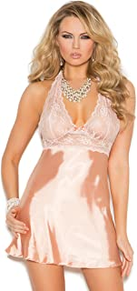 Elegant Moments Women's Charmeuse Halter Neck Babydoll with Lace Cups