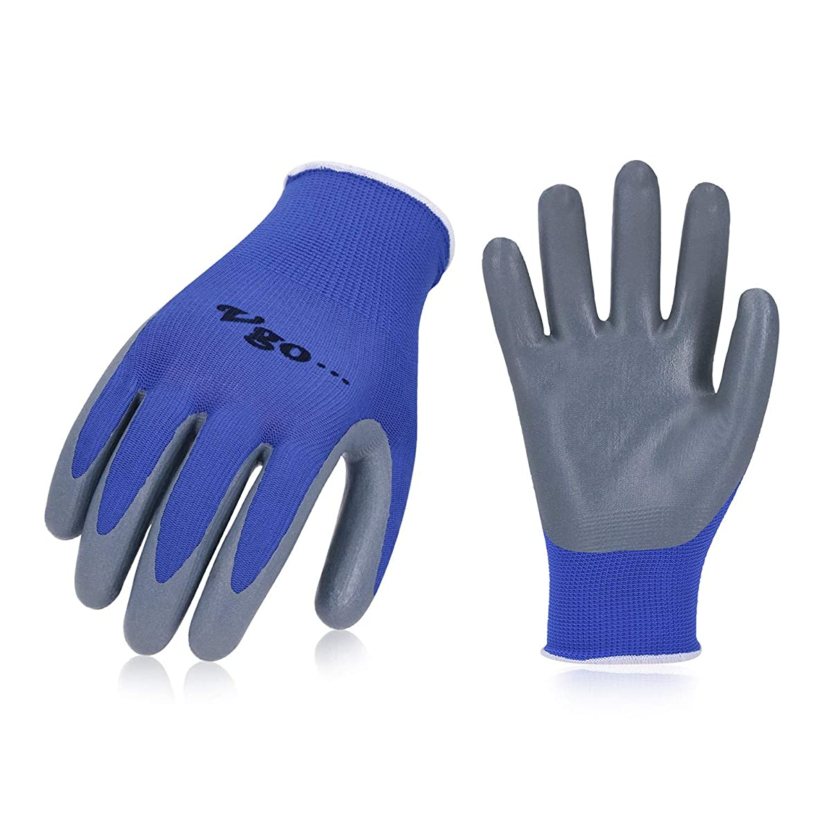 Vgo 10Pairs Nitrile Coating Gardening and Work Gloves (Size S, Blue, NT2110)