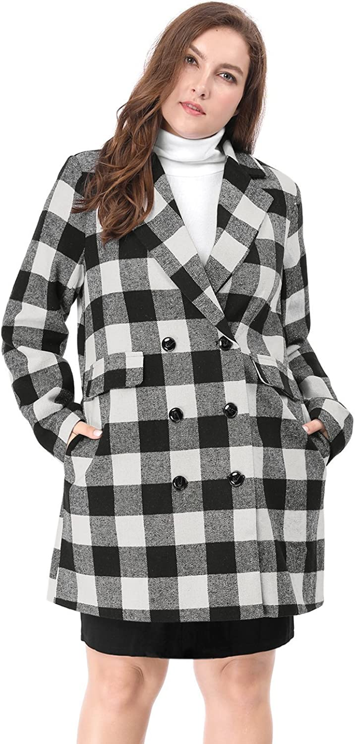 Agnes Orinda Women's Plus Size Double Breasted Turn Down Collar Plaids Coat