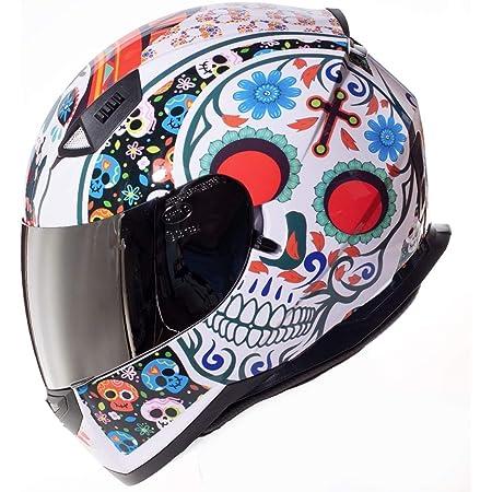 Shiro Casco Moto Integral ECE Homologado CASCO SH 881 MEXKULL BLANCO PERLADO EDICION LIMITADA (XS) para Mujer Hombre Adultos con Doble Visera