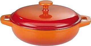 GSW Stahlwaren GmbH - Olla de Cocina, Hierro Fundido, Naranja y Rojo, 30 x 9 cm