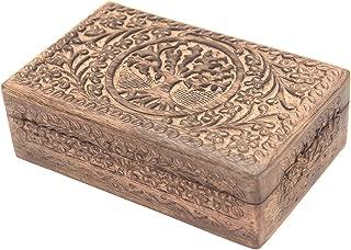 Hand Carved Tree of Life Wooden Box Keepsake Storage Multi Utility (Natural, Large)