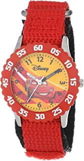 Disney Kids' W000084 Time Teacher Cars Stainless Steel Watch With Red Nylon Band