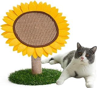 Bidason 爪とぎ 猫 ひまわり形 天然サイザル麻 ラウンド型 猫用 爪磨き つめとぎ おもちゃ 頑丈 カリカリ 小型キャットタワー 猫タワー 家具保護 運動不足解消 組立分解簡単