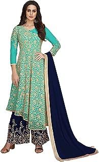 Misha Fashion Women's Heavy Net Salwar Suit Kurta Palazzo Set (Sky Blue)
