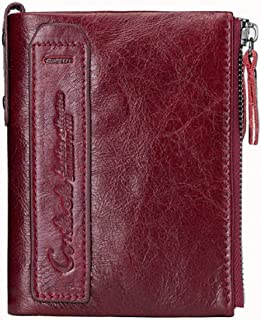CONTACTS Mens Genuine Leather RFID Blocking Wallet (Red)