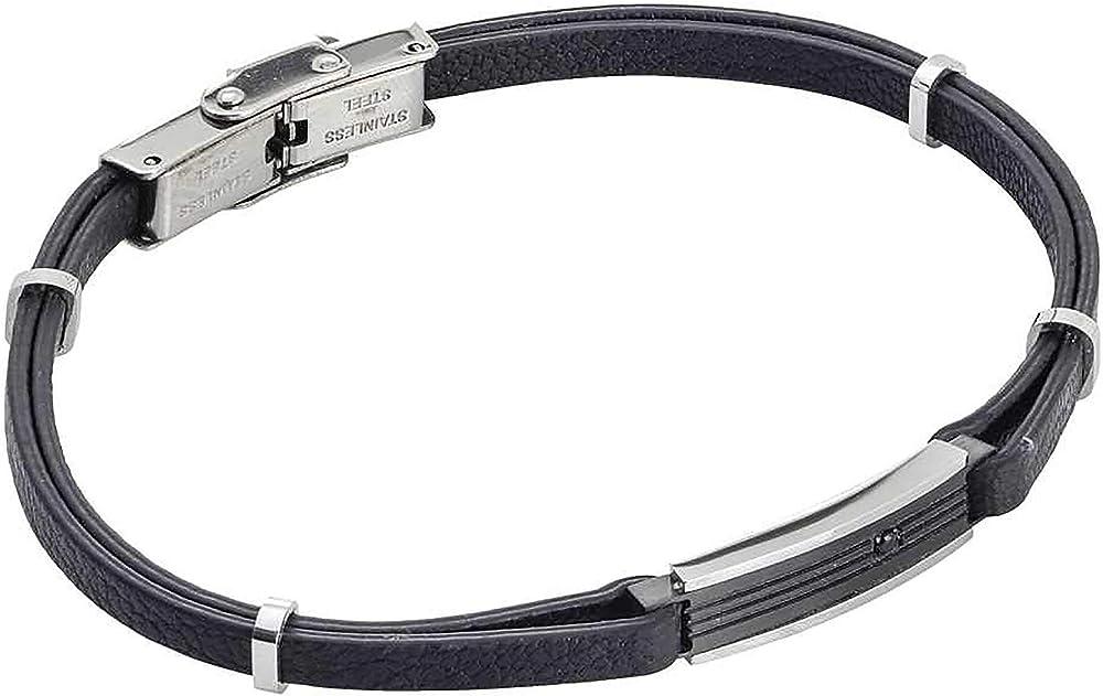 Boccadamo, bracciale per uomo, in similpelle,piastrina centrale in acciaio rodiato con pvd nero e zircone Abr531N