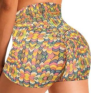 SEASUM Women High Waist Workout Shorts Printed Scrunch Booty Short Sexy Sports Yoga Hot Shorts
