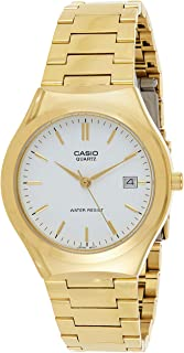 Casio Mens Stainless Steel Analog Watch Gold w/White Dial Batons - MTP-1170N-7A