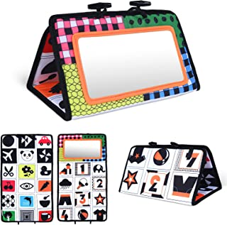 Vicloon Tummy Time Mirror, babyspiegel, zwart en wit, sensorisch speelgoed, buiktijd, activiteitenspiegel, babyspiegel, ve...